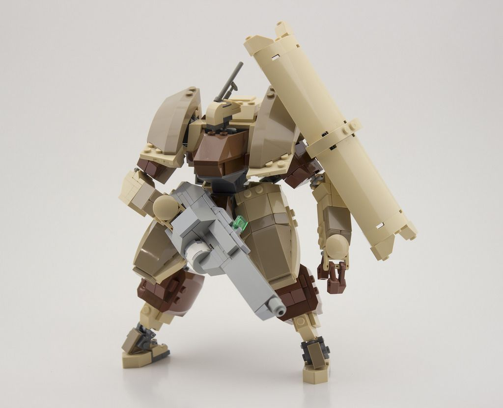 Main pic here.  Shown equipped with optional rifle attachment, and sub-arms that can hold the shield.