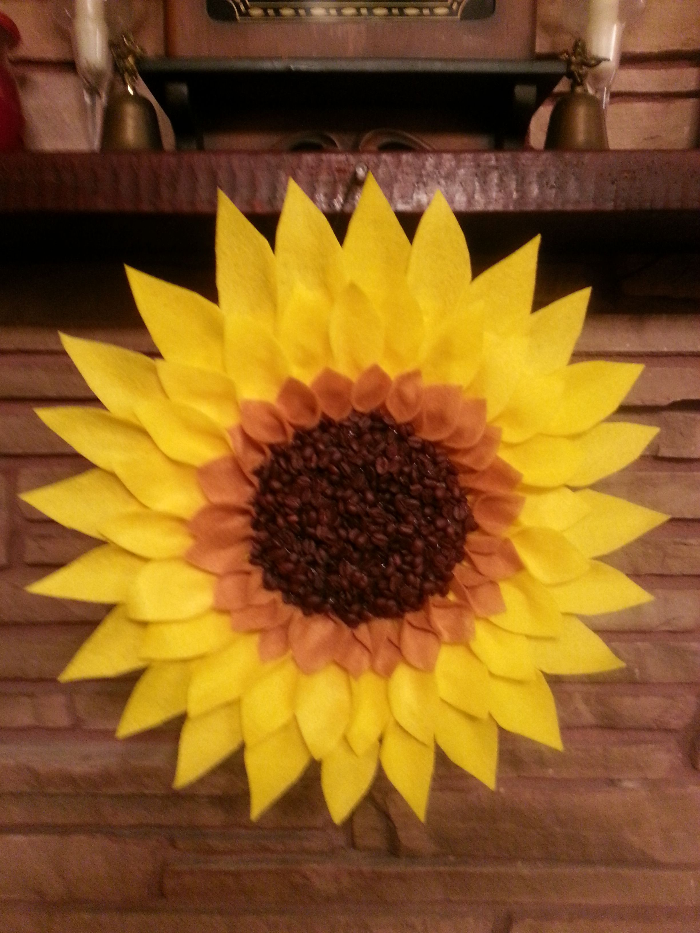Felt And Coffee Bean Sunflower Wreath