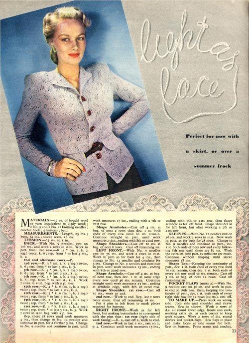 Vintage Chic: Lace Jacket Summer Free Vintage Knitting Pattern 1946