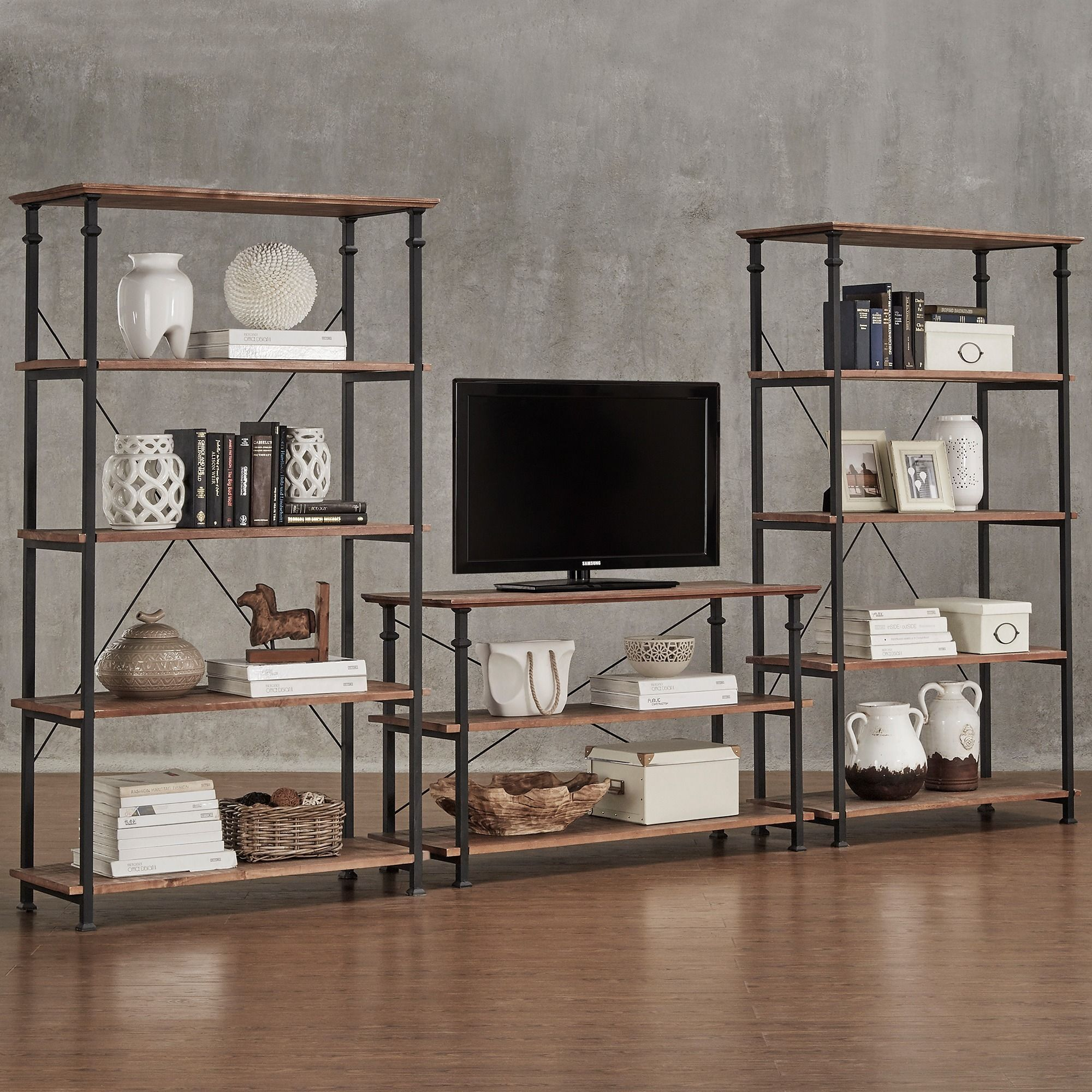 piece industrial myra rustic bookcase vintage inspire the stand inch q modern tv with by pin bookcases are set classic