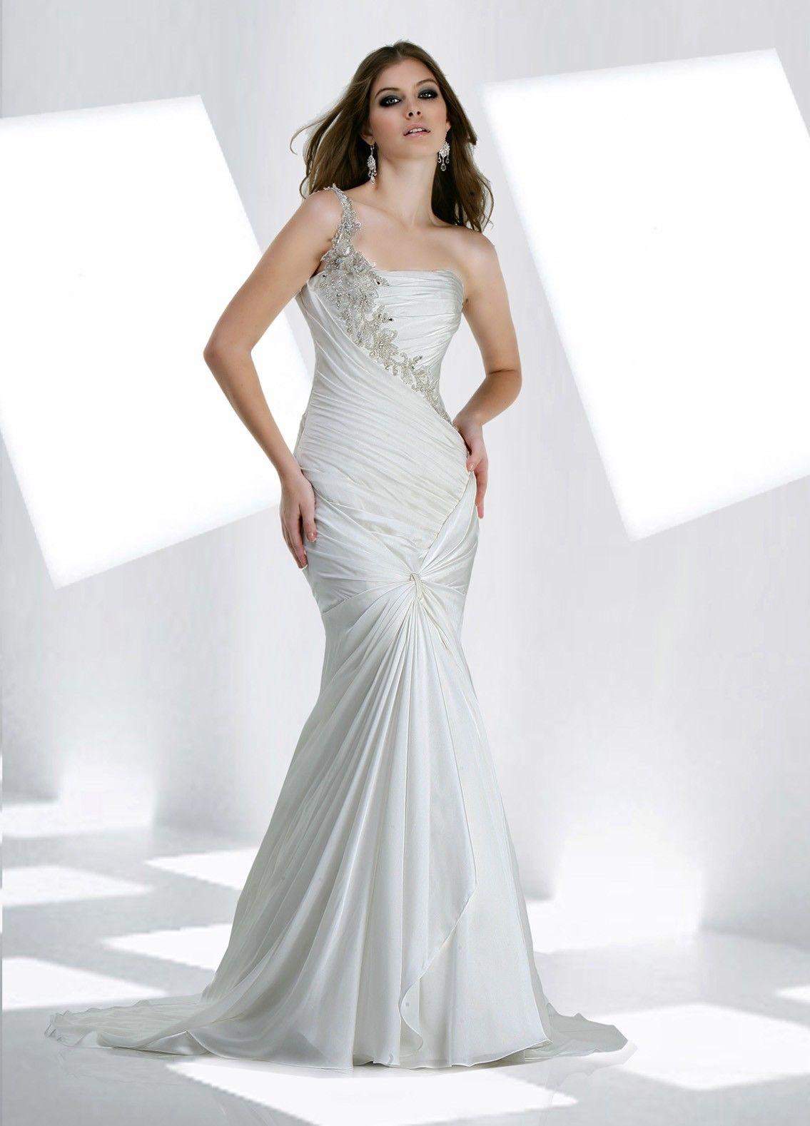 Trumpet style wedding dresses  Chiffon Oneshoulder Ruffled Bodice Mermaid Wedding Dress  Mermaid