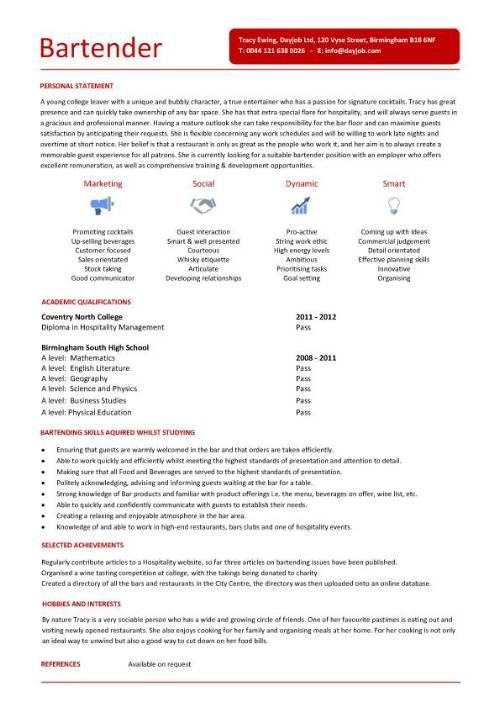 Sample Bartender Resume Examples Hospitality CV Templates Free Downloadable Hotel