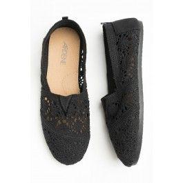 Black crochet loafers