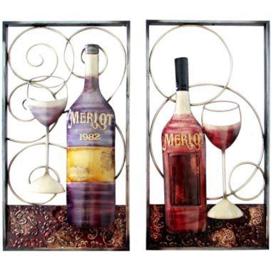 Wine Metal Wall Decor Wine Bottle Glass Wine Decor Kitchen Wine Theme
