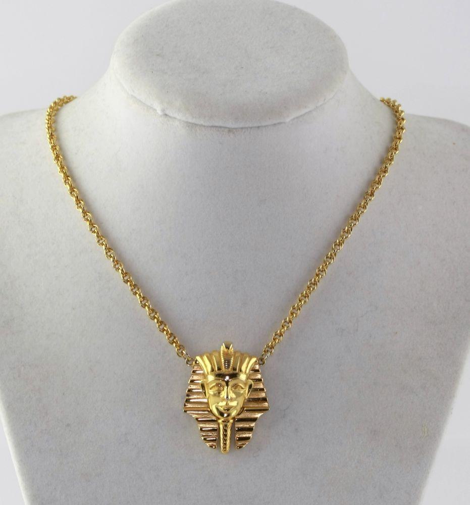 Vintage Crown Trifari King Tut Egyptian Pharaoh Necklace #Trifari
