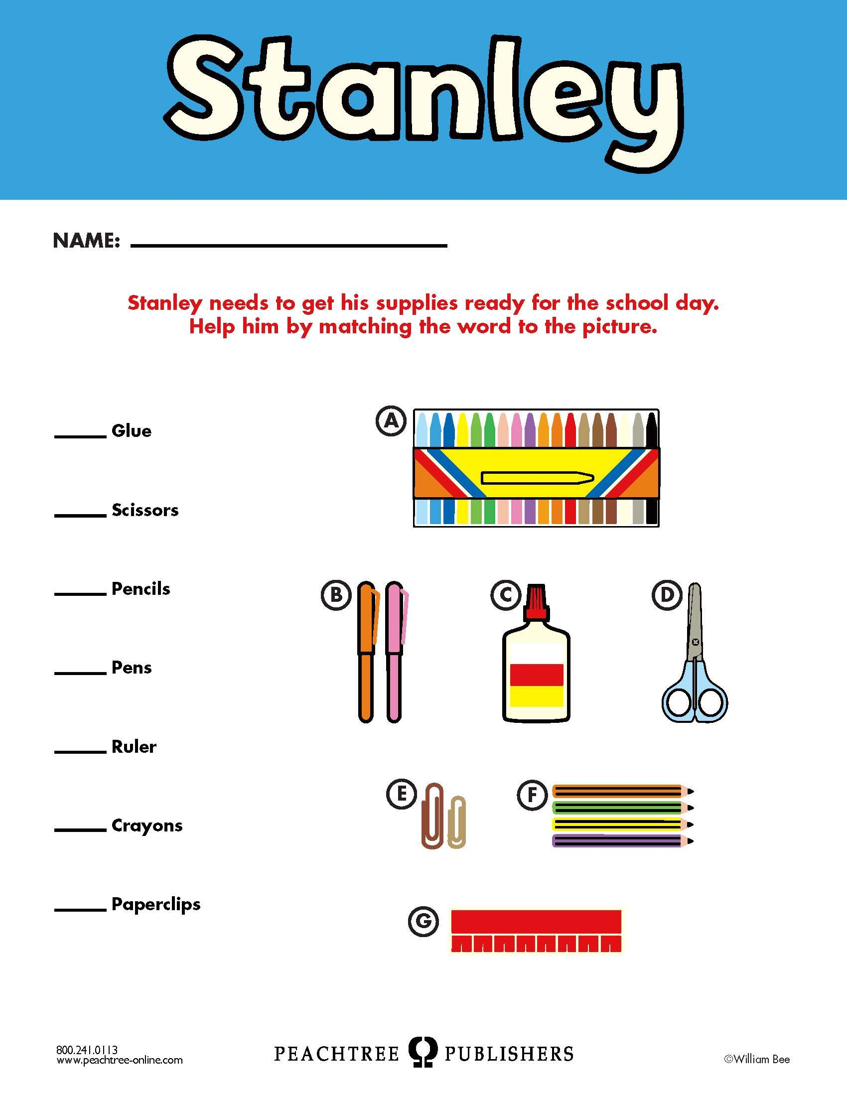 Free Educators Resource Activity Kit For Stanley Matching