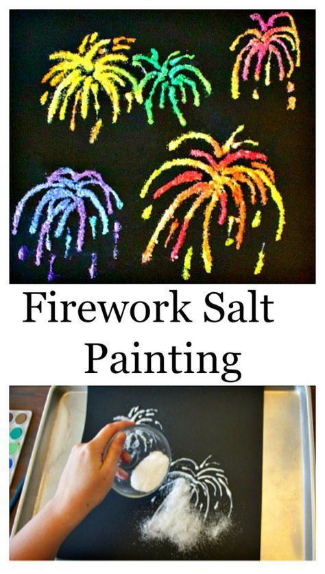 4th Of July Crafts - Firework Salt Painting For Independence Day