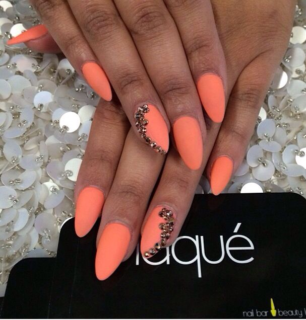 Matte coral, rose gold Swarovski nails