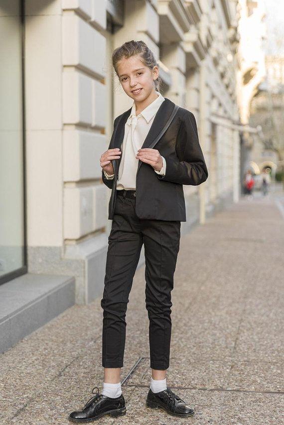 Black Tuxedo Suit Girls Tailored Toddler Suit Formal Dress Wear For