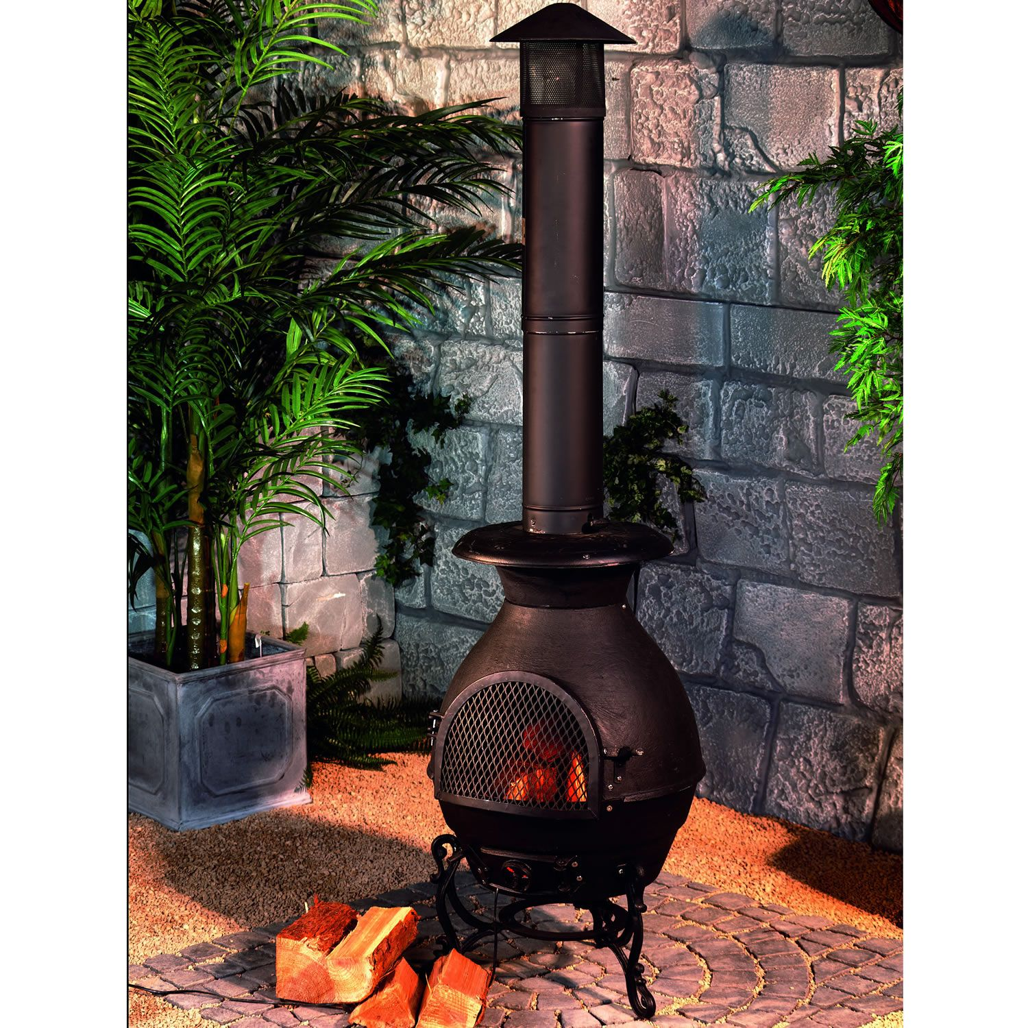chiminea burner black worldstores garden pinterest