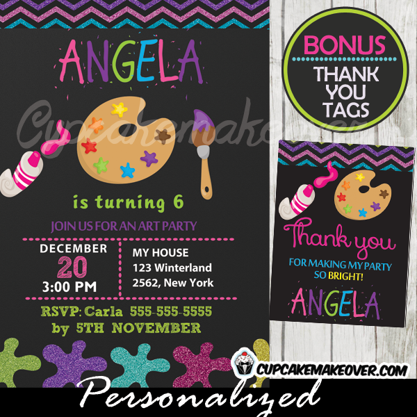paint palette art party invitation, chalkboard personalized - d3, Party invitations