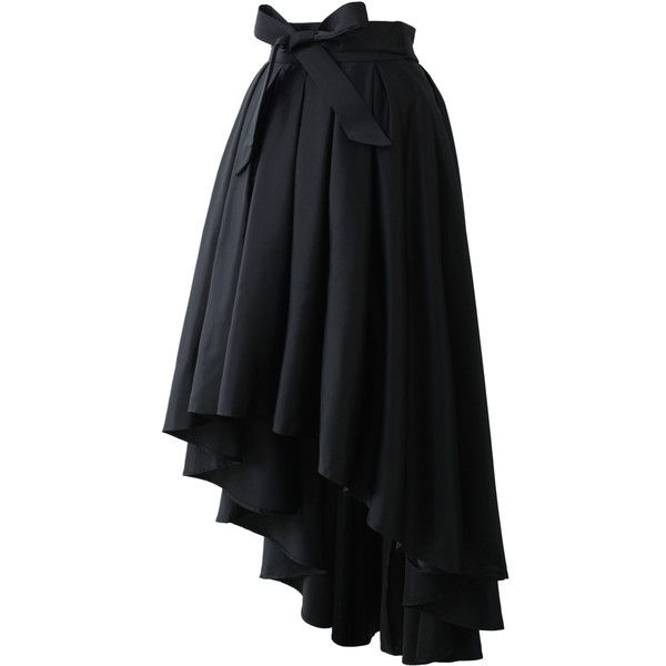 478fab3fc Chicwish Bowknot Asymmetric Waterfall Skirt in Black ($68) ❤ liked on Polyvore  featuring skirts, chicwish skirt, asymmetrical draped skirt, ...