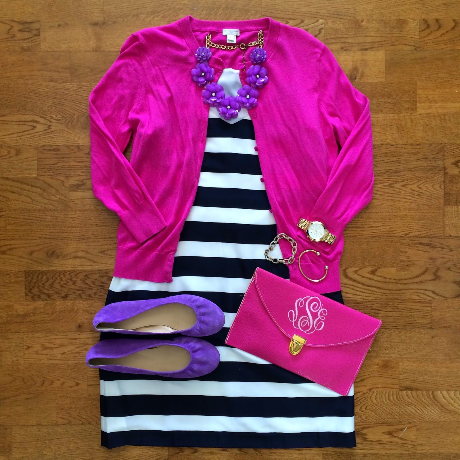 The Weekly Wardrobe: April 12 black and white striped dress, pink ...