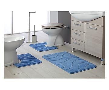 Set di 3 tappeti bagno antiscivolo onda azzurro max 50x80 cm