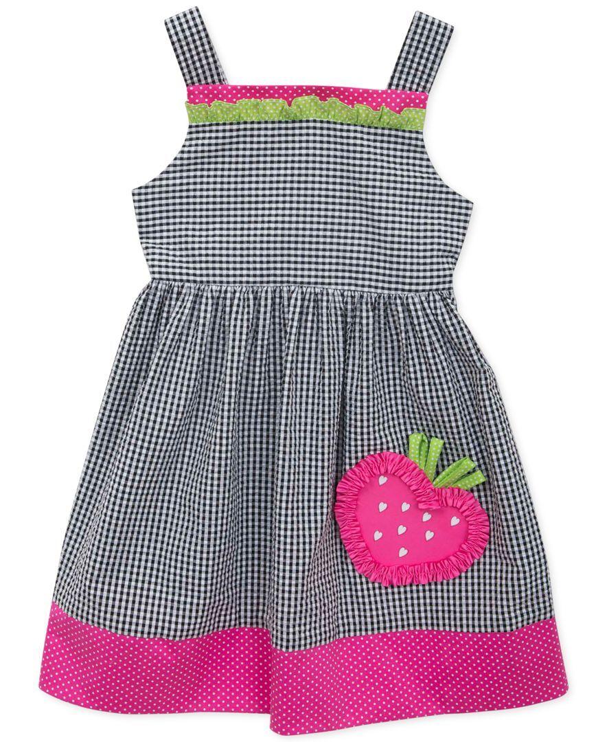 Rare Editions Little Girls' Strawberry Check Dress