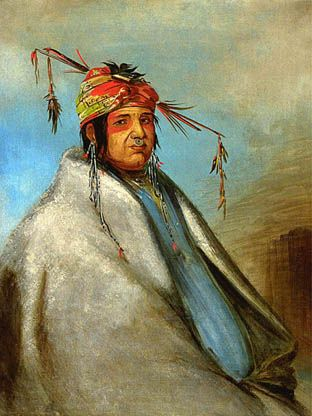 Non-on-da-gon, Delaware.  Probably painted at Fort Leavenworth in 1830 by George Catlin.  Non-on-da-gon was a leader of the Delaware tribe, also known as the Lenape tribes.  After two centuries of forced relocations the Delaware had lost nearly ninety percent of its population by the 17th century.  Catlin wrote a sympathetic account of the Delaware, ...