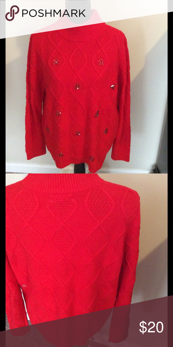 NY&Co Sweater Red crystal embossed turtleneck sweater. 100 % acrylic. New York & Company Sweaters Cowl & Turtlenecks