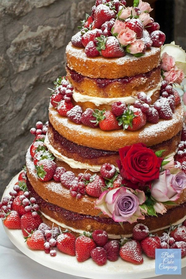 Naked Wedding Cake Szukaj W Google Carolyn M Pinterest - Fresh Fruit Wedding Cake