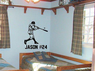Baseball Sports Player Home Run Custom Text Vinyl Wall Decal Sticker