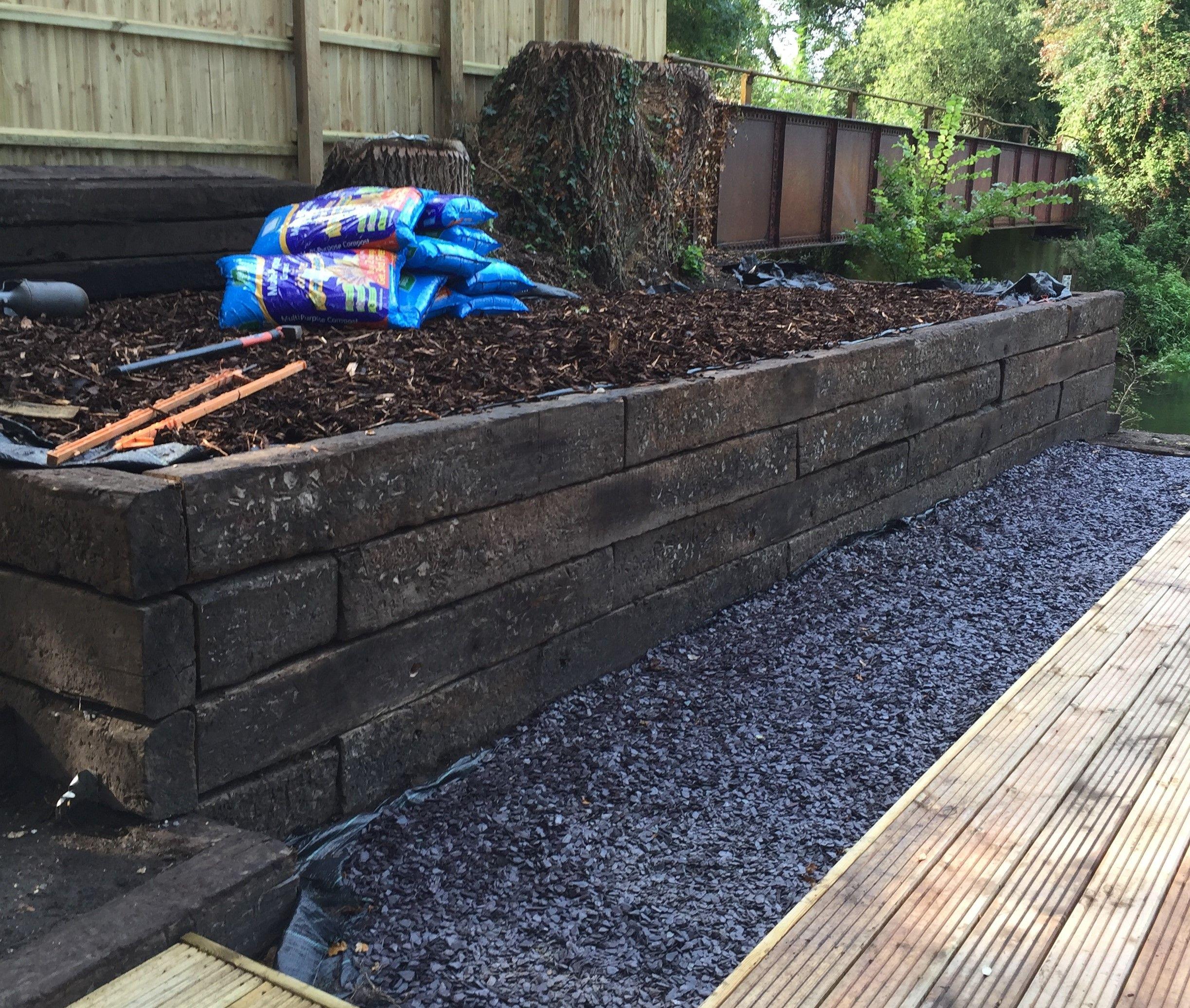 Reclaimed railway sleeper wall | Sleepers in garden ...