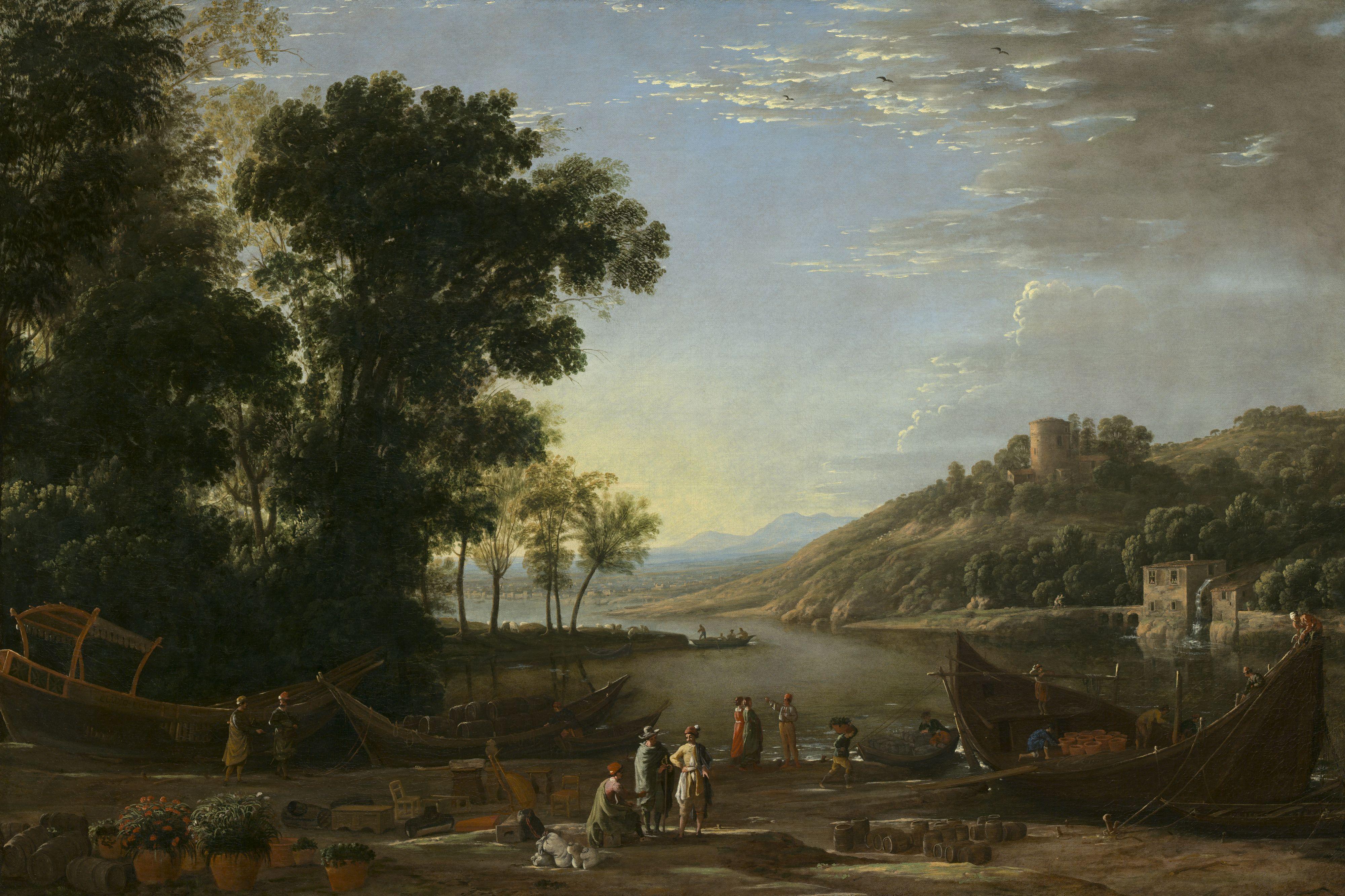 claude lorrain - paysage fluvial avec des marchands, c. 1629, oil on canvas, 97 x 143 cm (national gallery of art, washington d.c.)