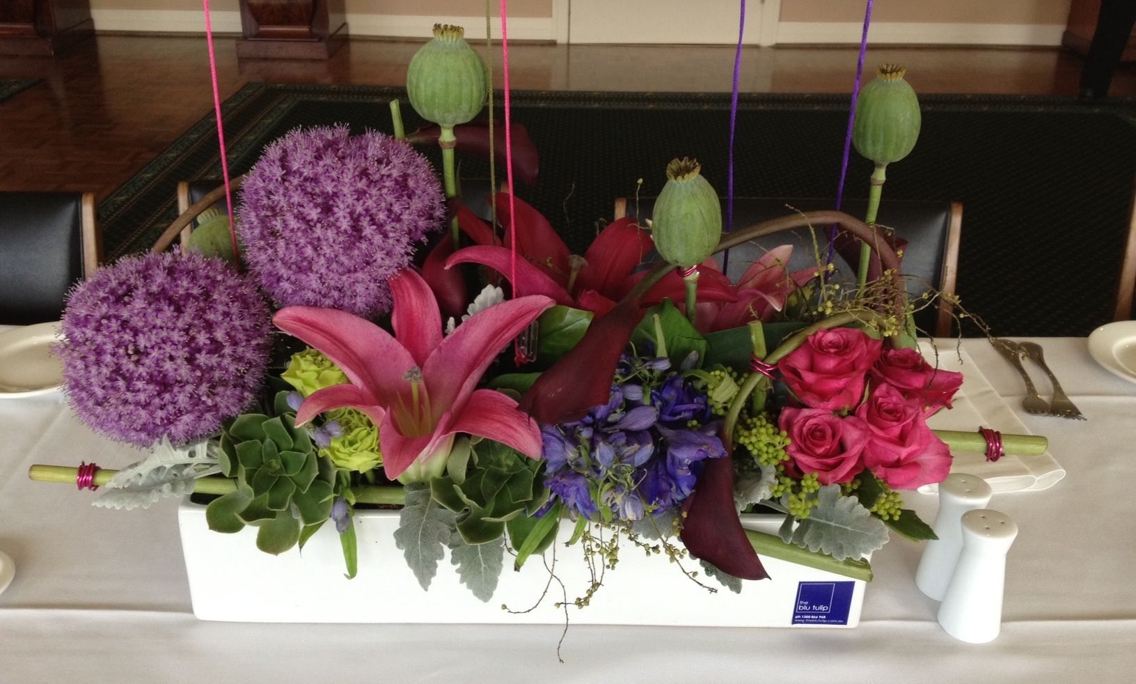 Large table arrangement for a 60th birthday included are alium large table arrangement for a 60th birthday included are alium flowers roses succulents izmirmasajfo