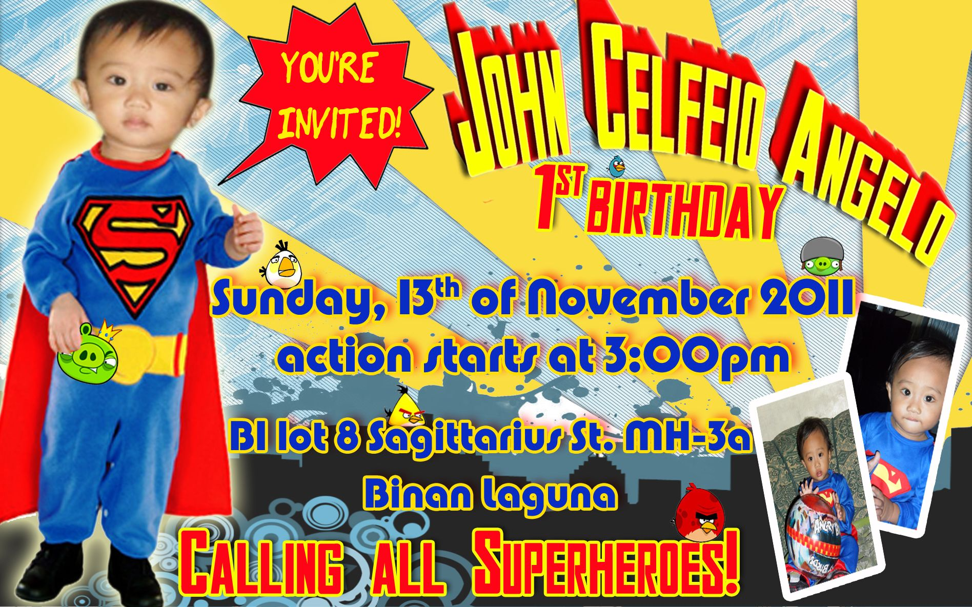 Feios Superman Angry Bird invitation Birthday Party and