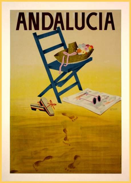 Andalucia Vintage Travel Poster classic Tourism A4 A3 A5 re print