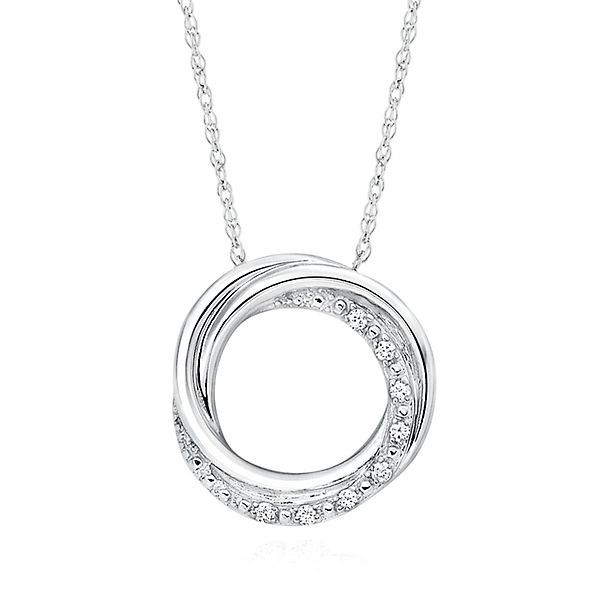 Circle of love diamond pendant in sterling silver my style circle of love diamond pendant in sterling silver aloadofball Images