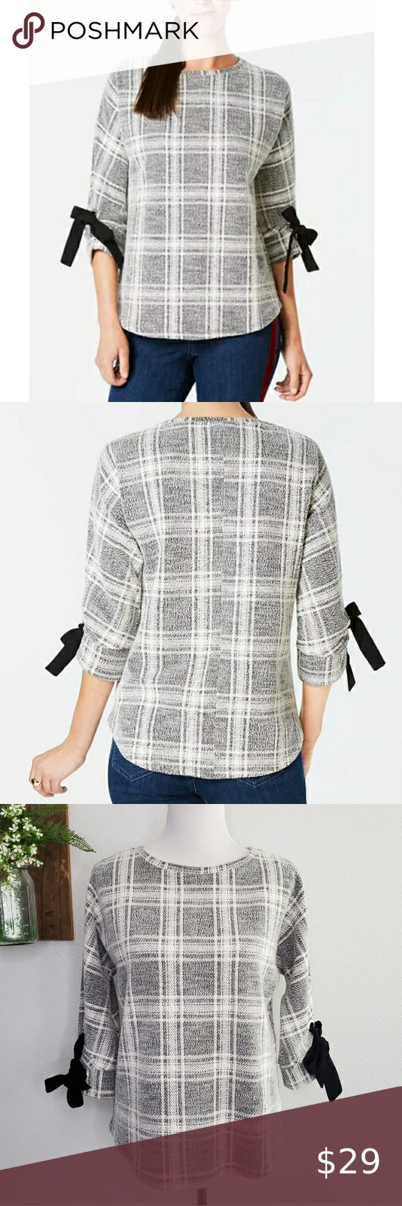 Charter Club Plaid Bow Sleeve Knit Textured Top PM
