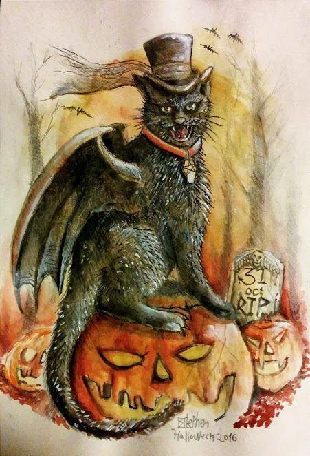 Vintage Halloween Poster Evil Cat Pumpkin, Gothic, Victorian