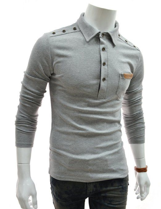 TheLees Slim Leather Patched Pocket Shoulder Button Long Sleeve Tshirt $22.50 - costume ideas