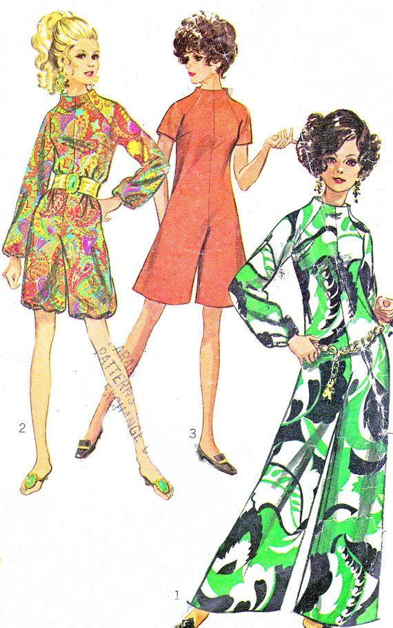 1960s Womens Jumpsuit Pattern Simplicity 7909 Womens Funnel Neck Raglan Sleeve Jumpsuit Romper Womens Vintage Sewing Pattern Bust 32 1/2 1