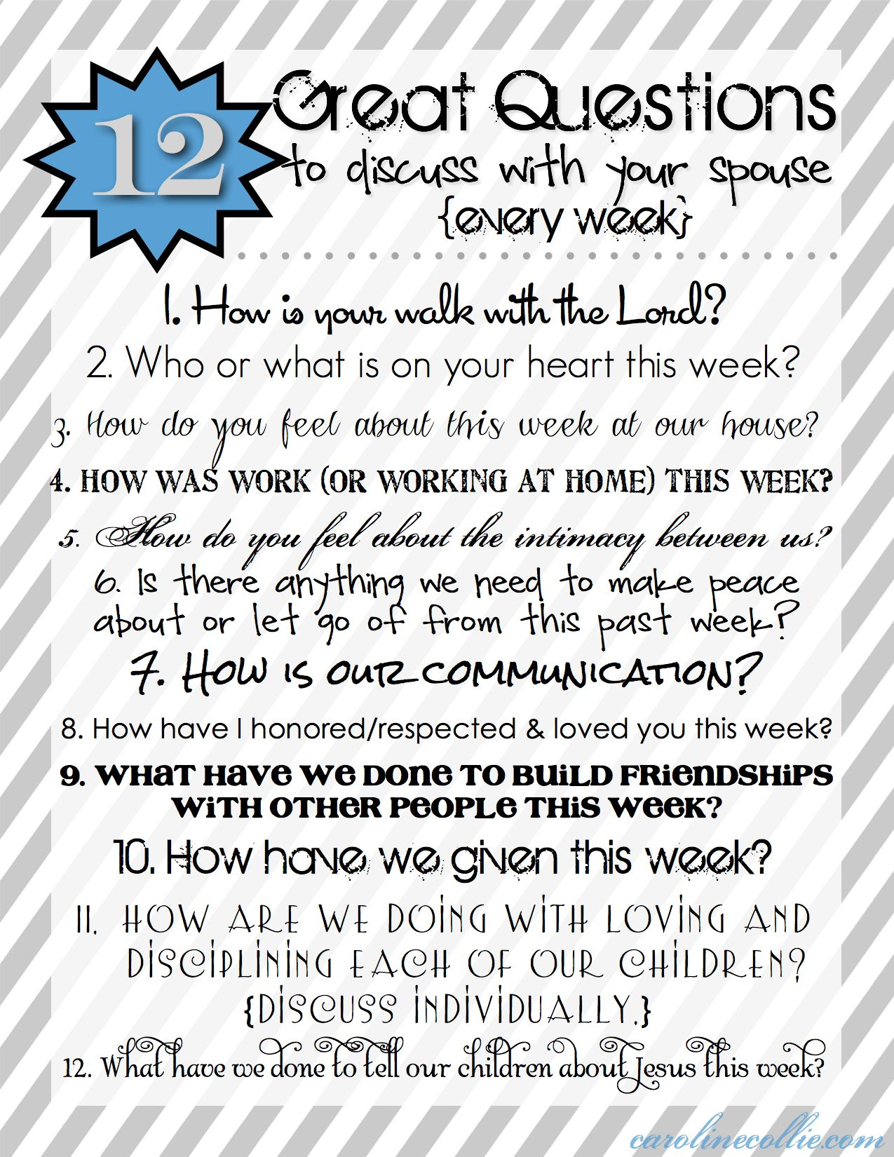 Great Marriage-Building Tool :: 12 Questions To Discuss With Your Spouse Every Week
