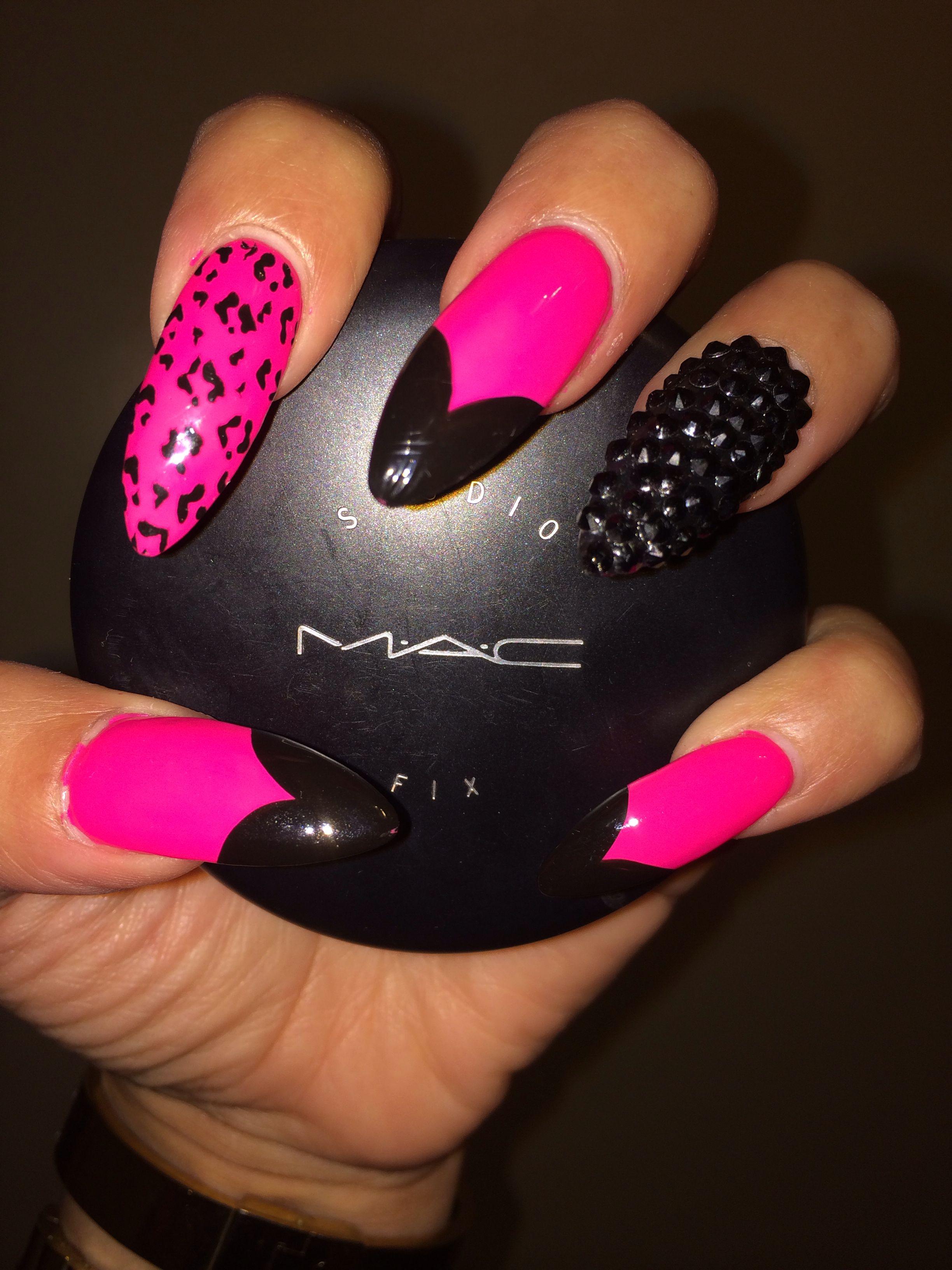 Pink & black stiletto nails | Nail Designs | Pinterest