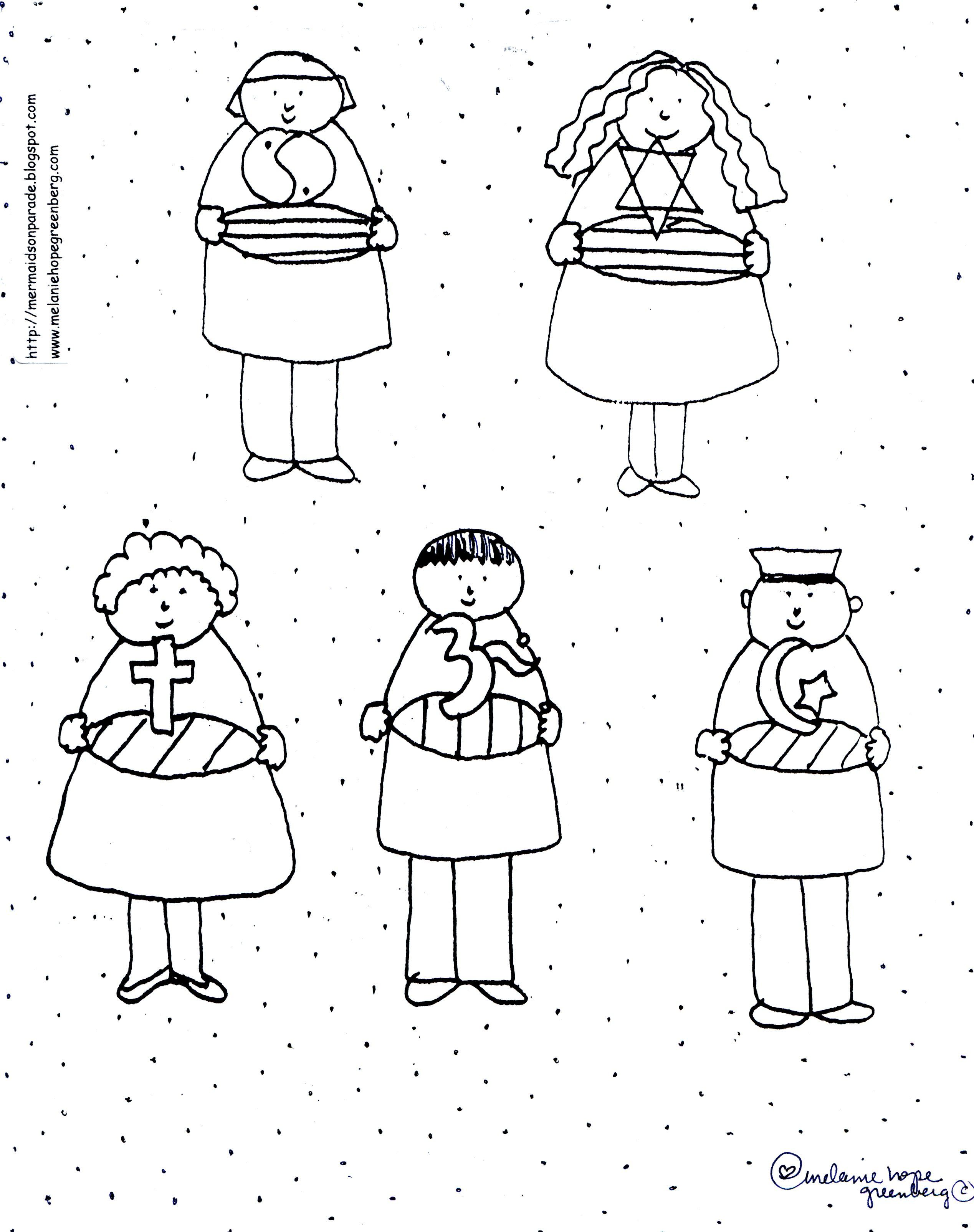 free multicultural children coloring page