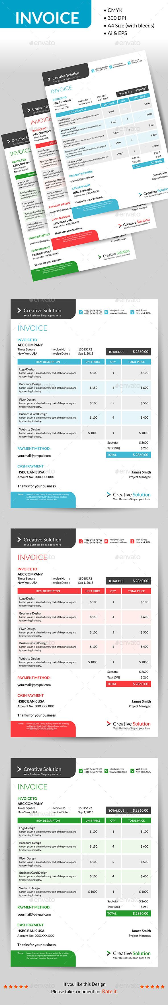 Invoice  Template Business Proposal And Form Design