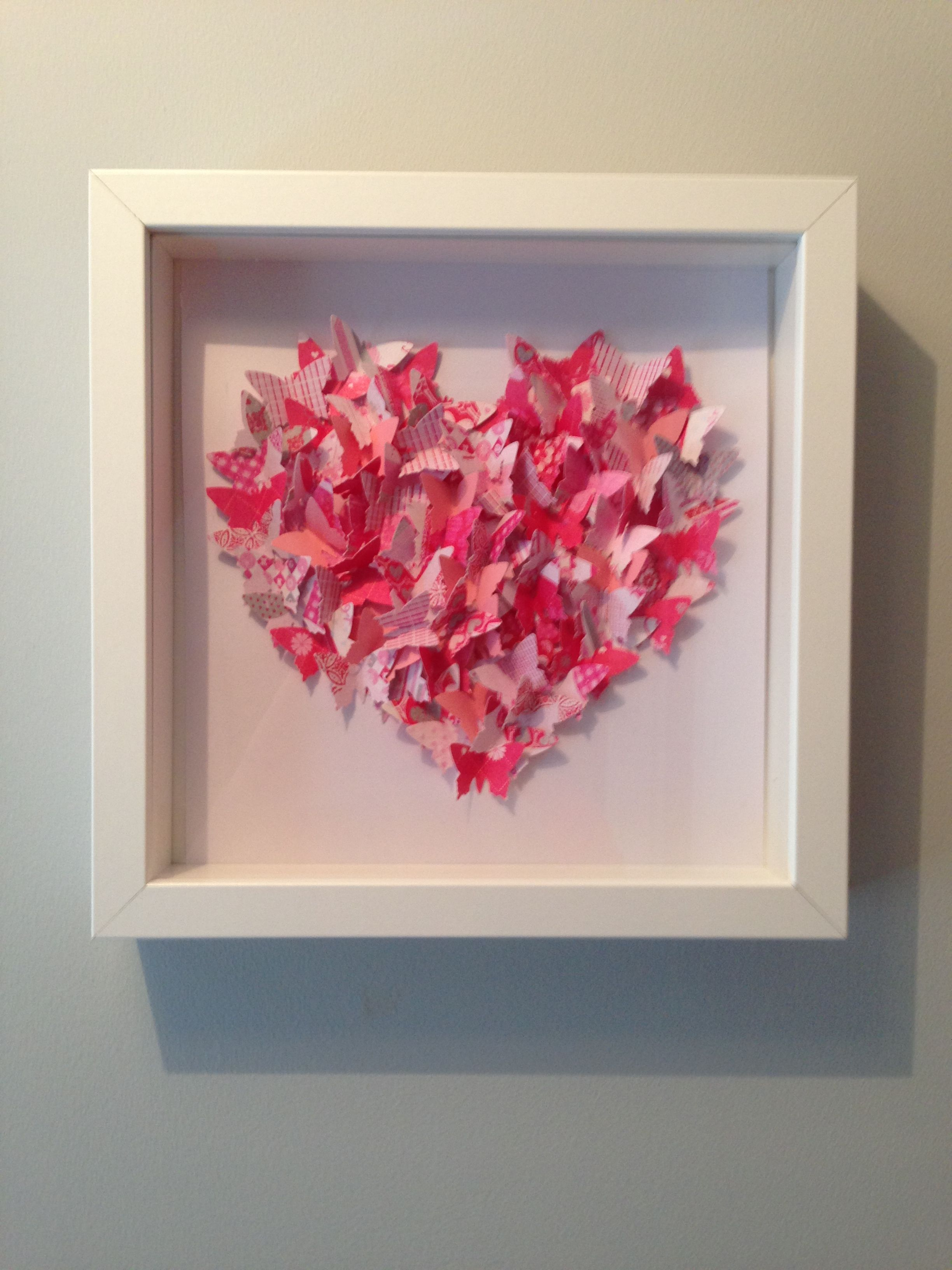 Pink Shabby Chic Floral 3d Butterfly Love Heart Wall
