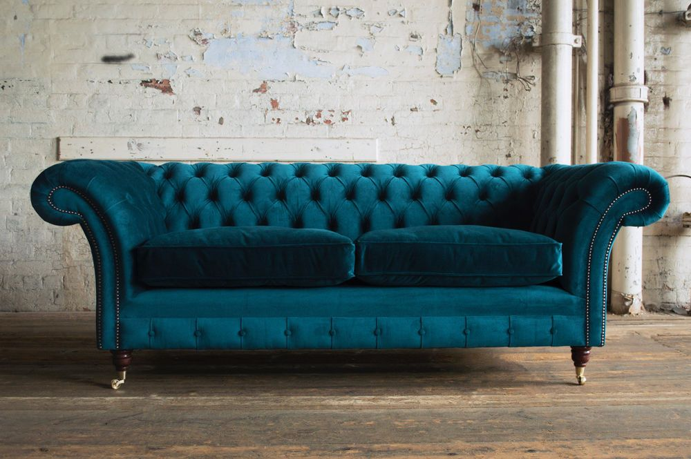 Details about HANDMADE 3 SEATER PLUSH TEAL BLUE VELVET