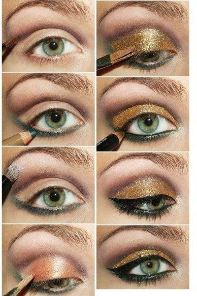 gorgeous gold eye makeup tutorial! #makeup #eyeshadow #glitter #mua #eyes #bbloggers #eyeliner #cateyes #gold #tutorial #howto #stepbystep #diy