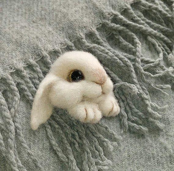 Felted bunny brooch Needle felted animal pin Easter gift Needle felt animal brooch Felt bunny pin Gi #needlefeltedbunny