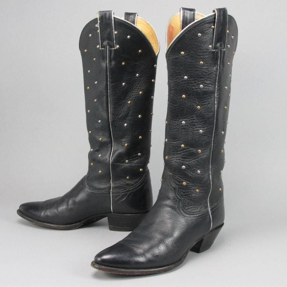 Women's Justin Tall Vintage Studded All leather Western Cowboy ...