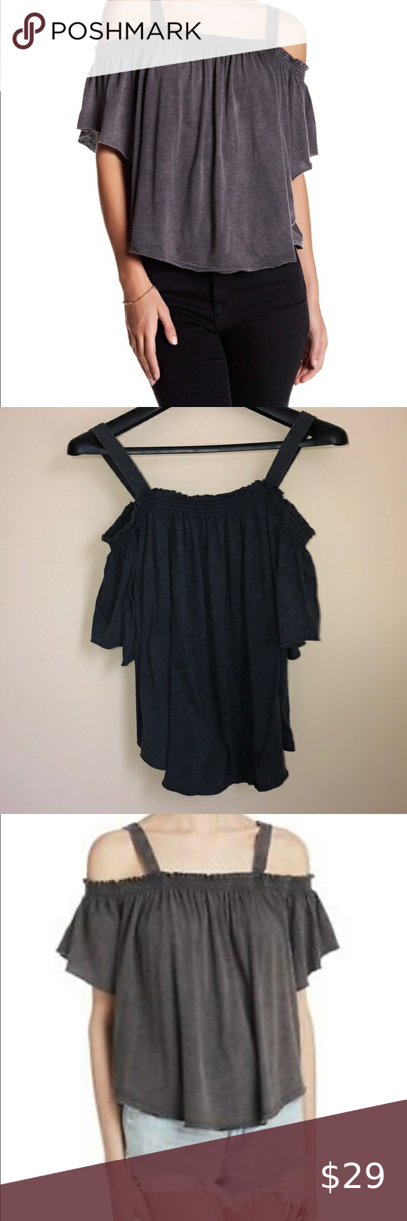 We The Free, off the shoulder gray top, size L