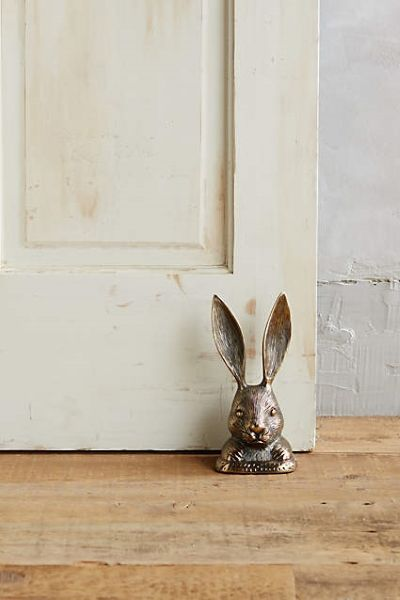 While most rabbit decor is used to signify spring, this funky little rabbit door stop has an aged bronze look that gives it a little more of a fall inspired feel. - From The Home Decor Discovery Community of www.DecoandBloom.com