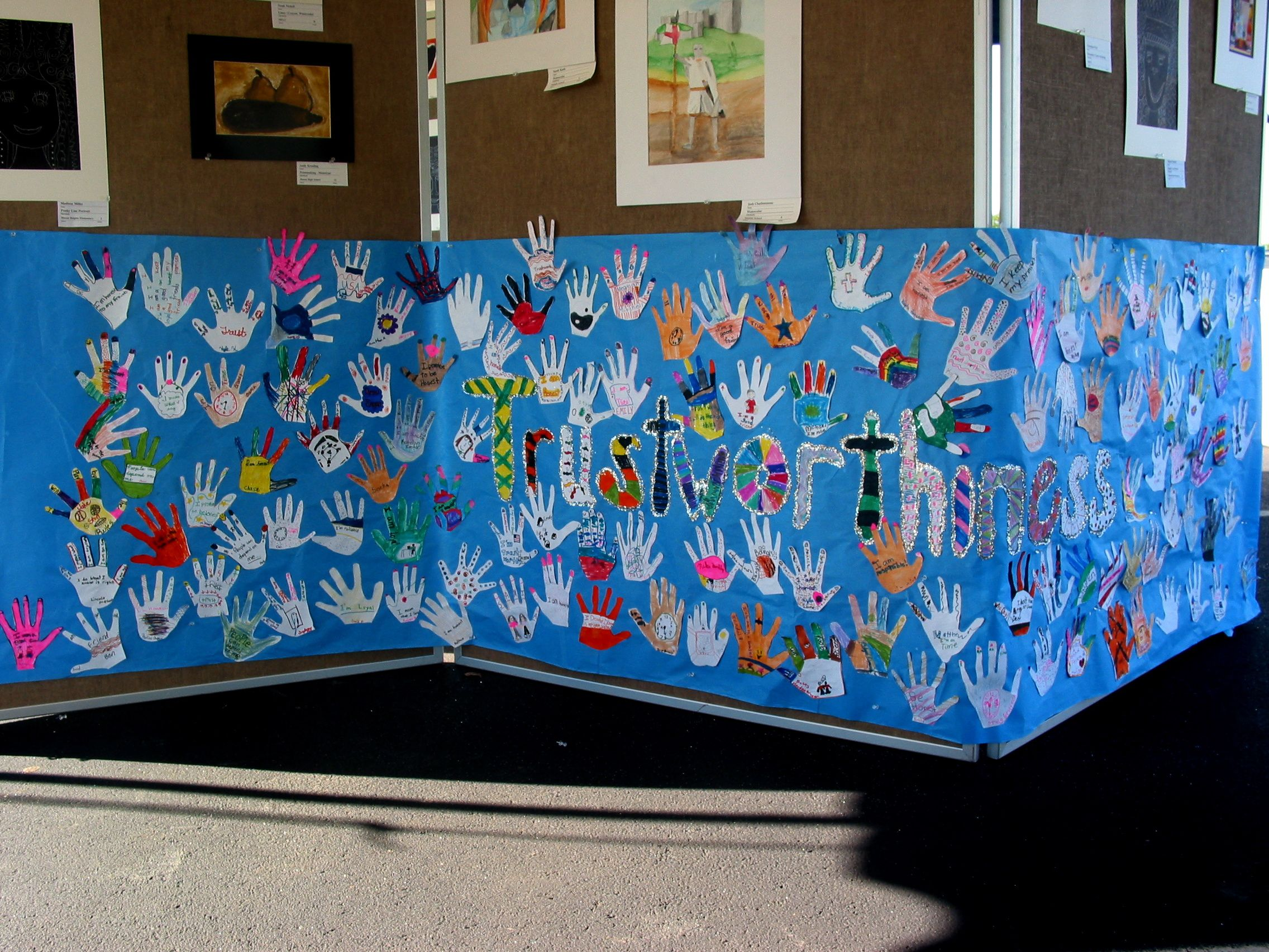 Pillars Of Character Students Traced Hand Wrote One Way To Show Trustworthiness Decorated
