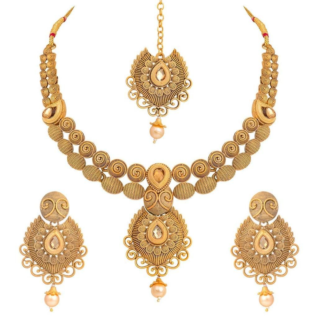 I Jewels Antique Gold Plated Handcrafted Polki Traditional