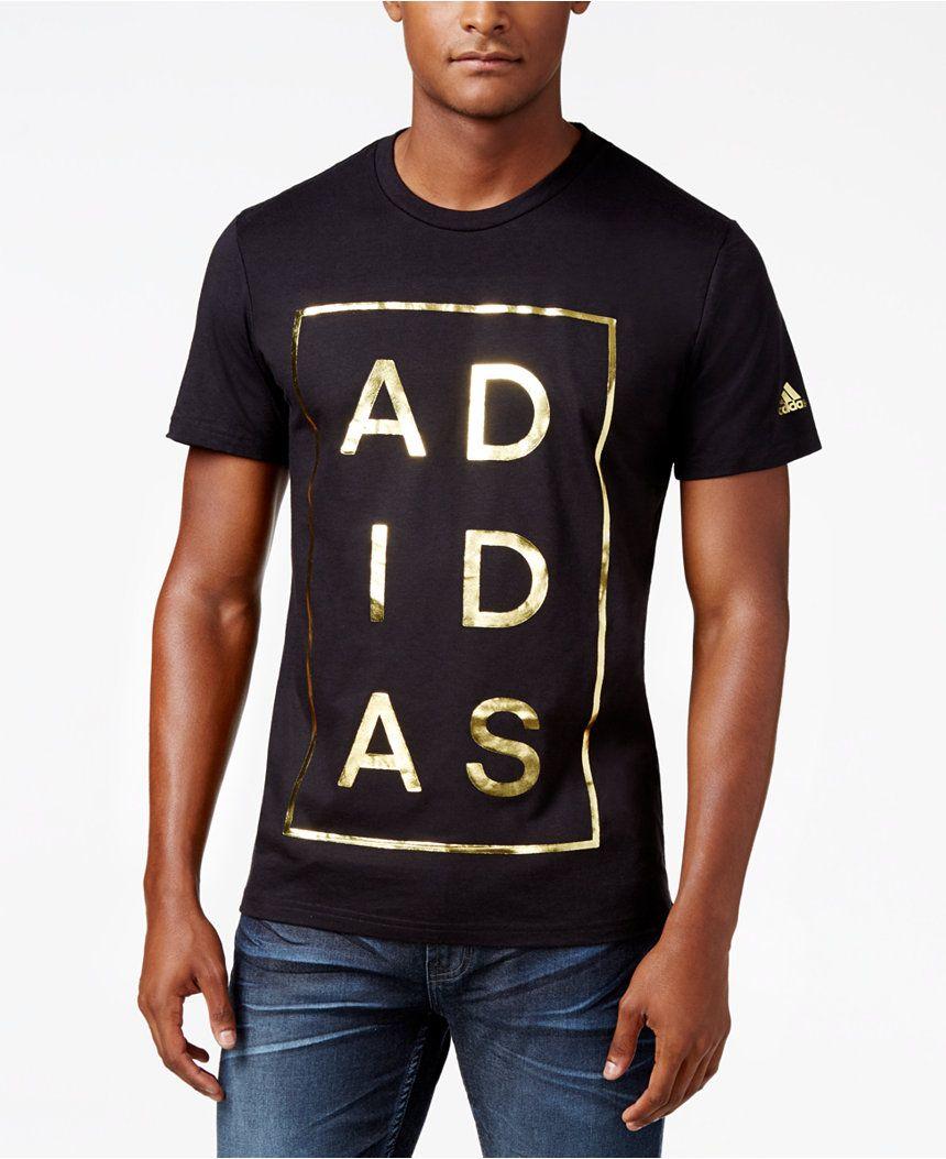 Adidas uomini verticale del logo in lamina d'oro era di 25 t - shirt,