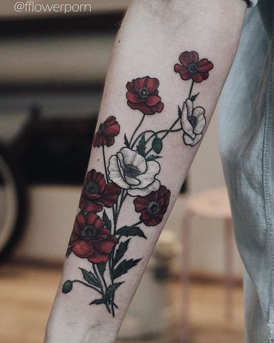 30 catchy poppy tattoo designs tats pinterest for Flower tattoos on lower arm