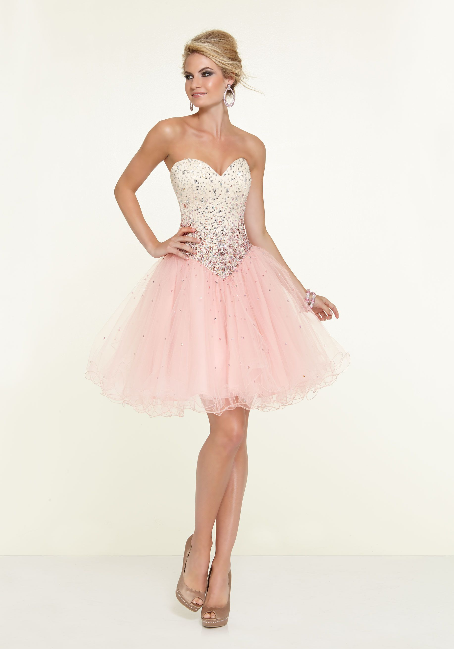 Satin and Tulle with Ombre Beading Party Dress Designed by Madeline ...