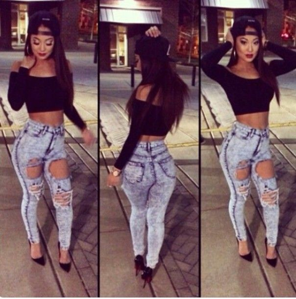 Jeans | Girl swag Black crop tops and Black